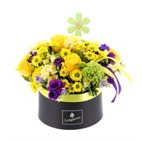 Mother's Day Yellow & Purple Hat Box Floral Arrangement