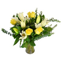 Lilies & Yellow Roses Hand Tied Valentine's Day Bouquet