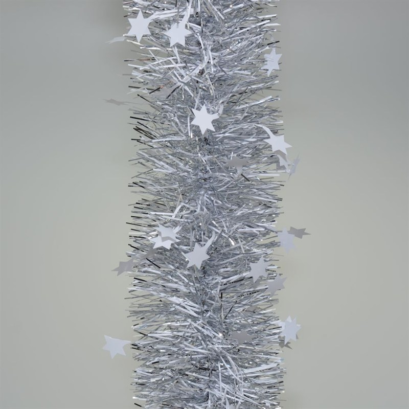 Weiste Silver White Tinsel Christmas Garland With Stars 110mm X 2m 6771lng