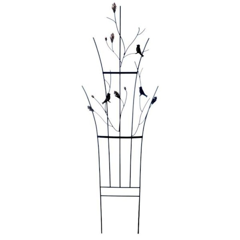 Panacea Curved Leaf And Bird Trellis Black With Brushed
