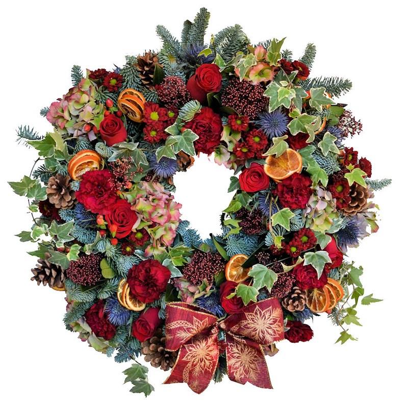Christmas Wreath Fresh Door Real Wreath With Bow
