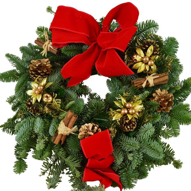 Christmas Wreath Red Amp Gold Door Real Fresh Wreath