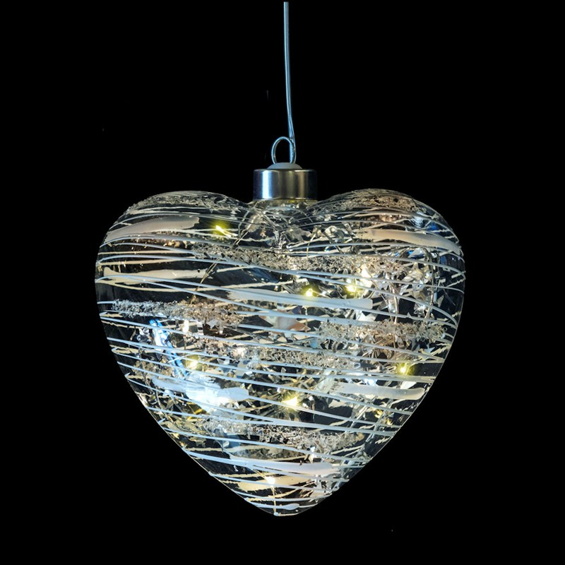 Fountasia Christmas Tree Glass Silver LED Magical Heart ...