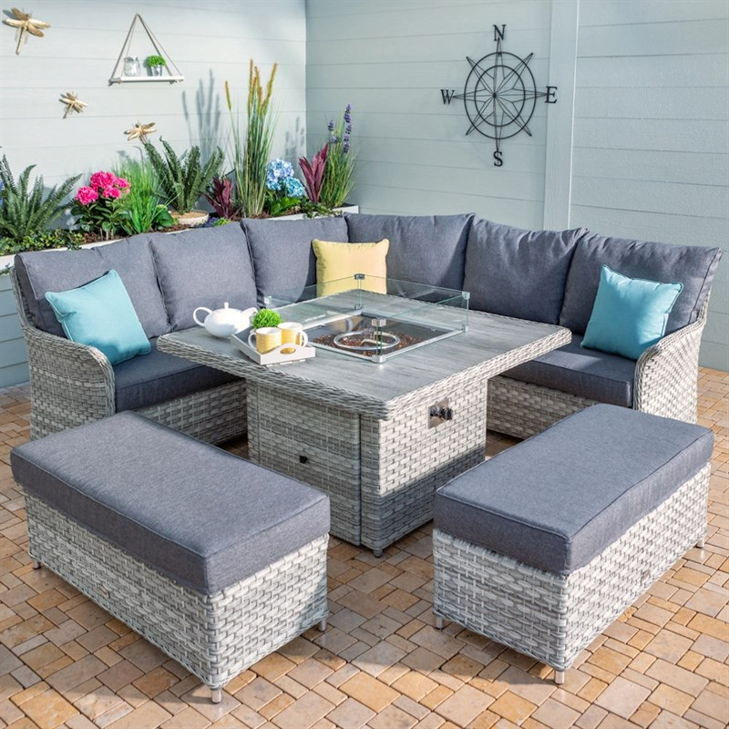 Hartman Heritage Tuscan Grand Square, Rattan Garden Furniture With Gas Fire Pit Table