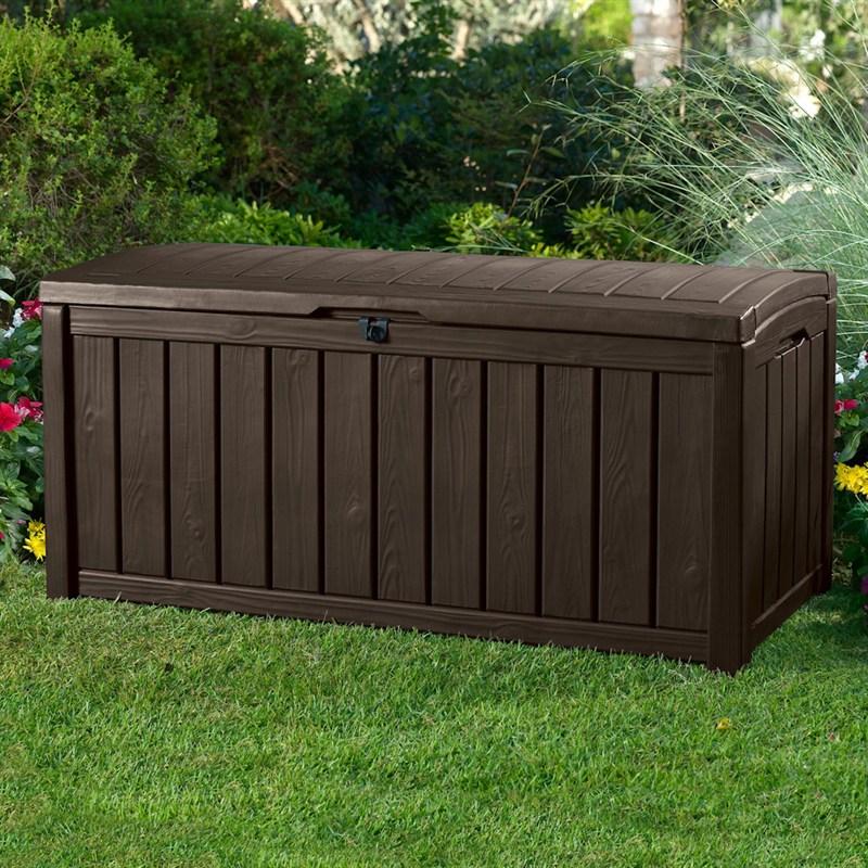 keter glenwood 390l wood panel garden storage box espresso 17193274 - Garden Storeage Boxes