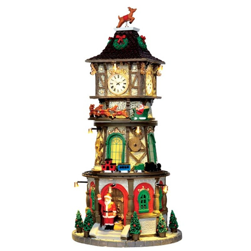 Welp Lemax Christmas Village - Christmas Clock Tower Building with 4.5v TF-64