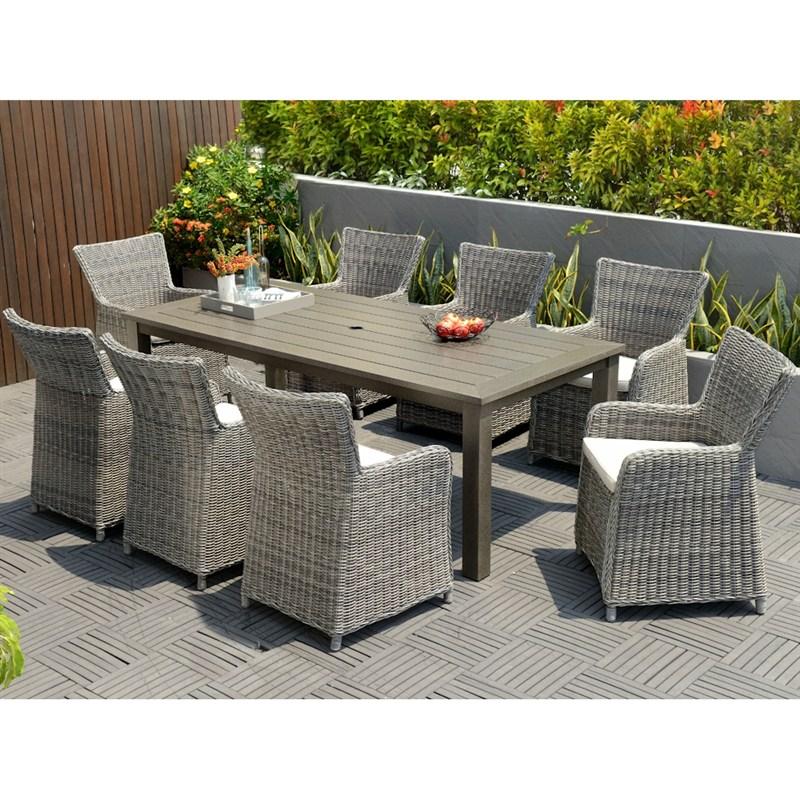 lifestyle garden amosa 8 seat rectangular dining set. Black Bedroom Furniture Sets. Home Design Ideas