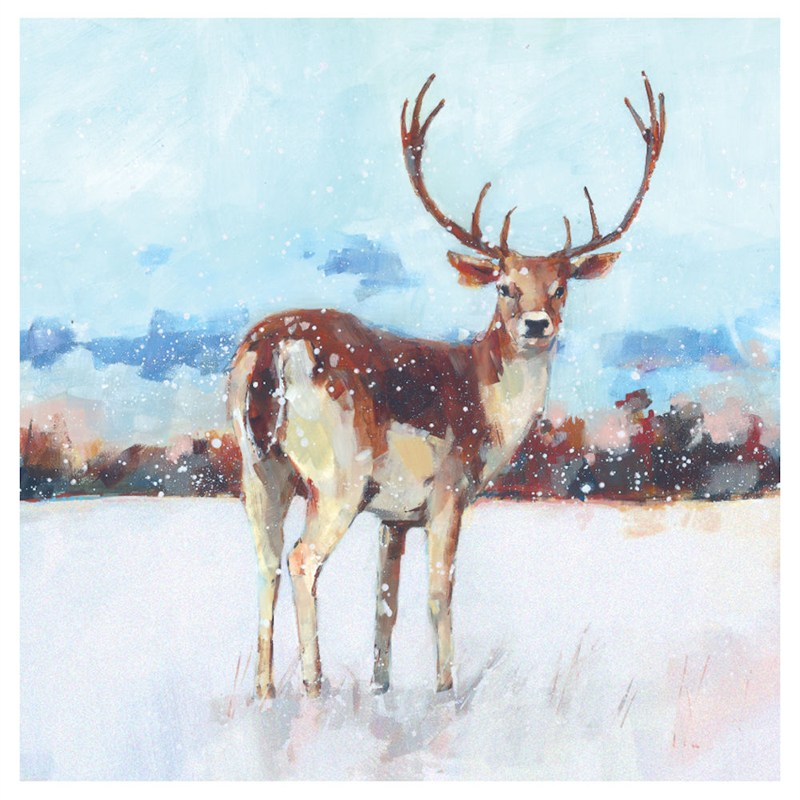 Wildlife Christmas Cards.Ling Design Charity Christmas Cards 6 Pack Deer In Snow With Glitter X12270rcjp
