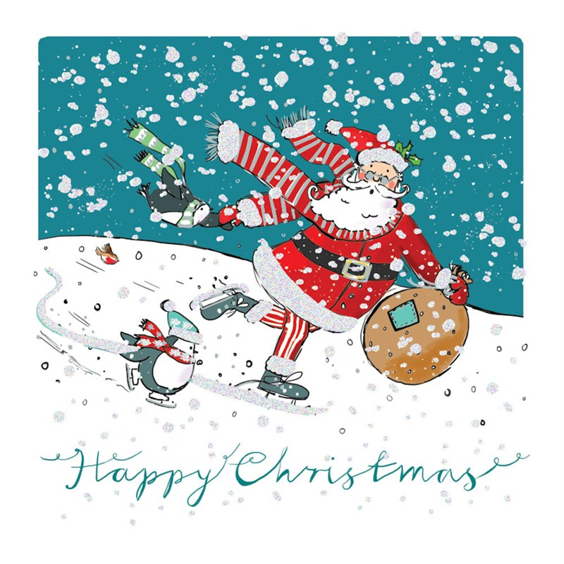 Glitter Christmas Cards.Ling Design Charity Christmas Cards 6 Pack Santa Penguin With Glitter X12248rcjp
