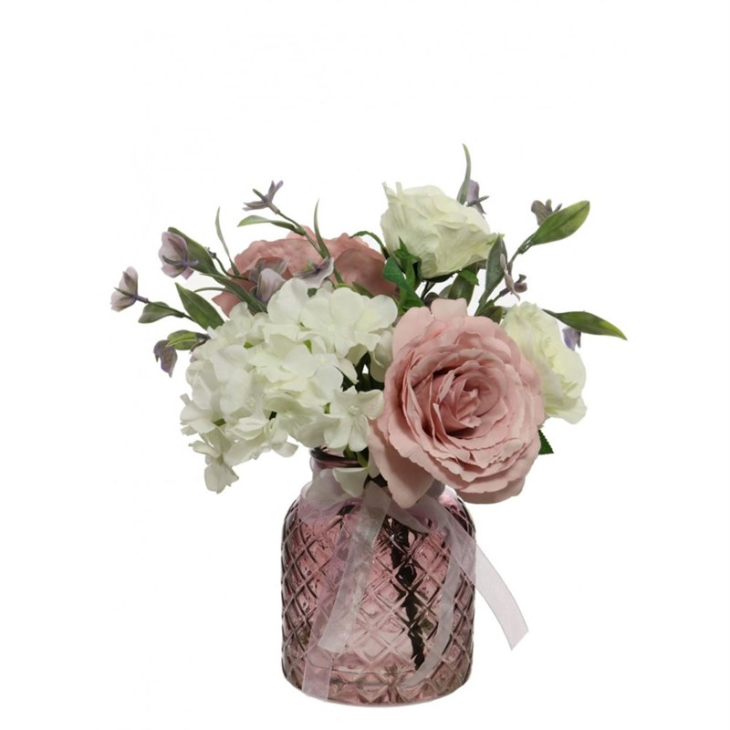 Lotus Artificial Floral Arrangement Mixed Roses In Lattice Vase Pink 566178