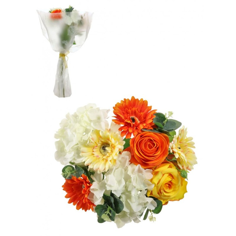 Lotus Artificial Floral Arrangement Rose Gerbera Bouquet Orange 350081