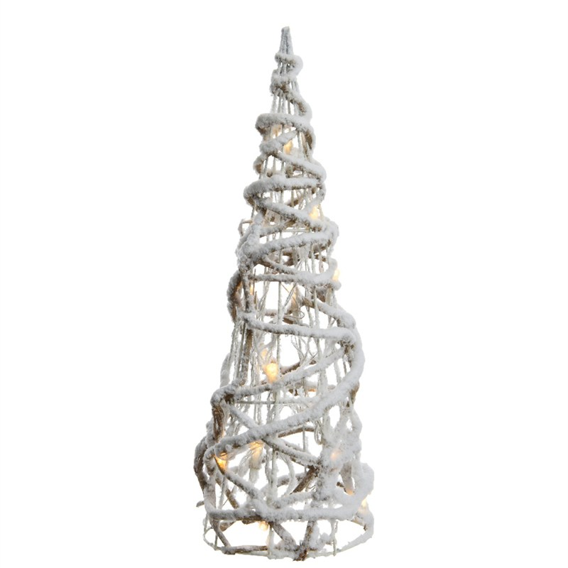 lumineo led twisted cone tree with snow 60cm warm white christmas lights 541163