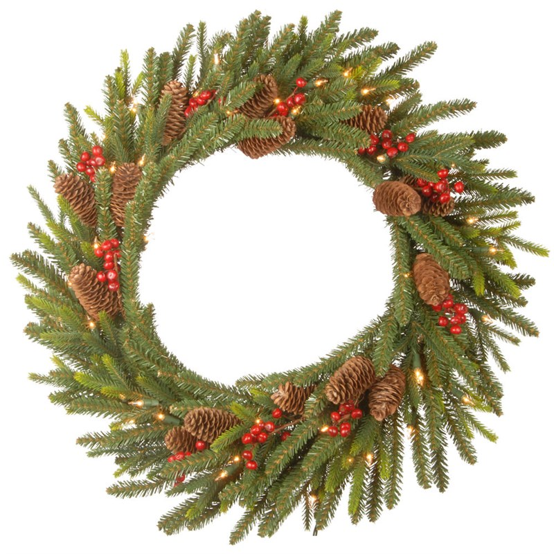 National Tree Dorchester Fit 24 Inch Artificial Christmas Wreath Pre Lit With Leds Pedr3 300 24w