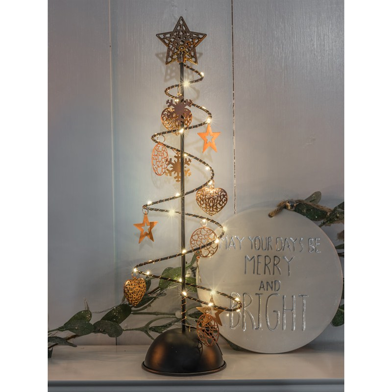 Metal Christmas Tree.Noma 45 5cm Metal Christmas Tree Light Up Decoration With Star Heart 30 Warm White Leds 1018328