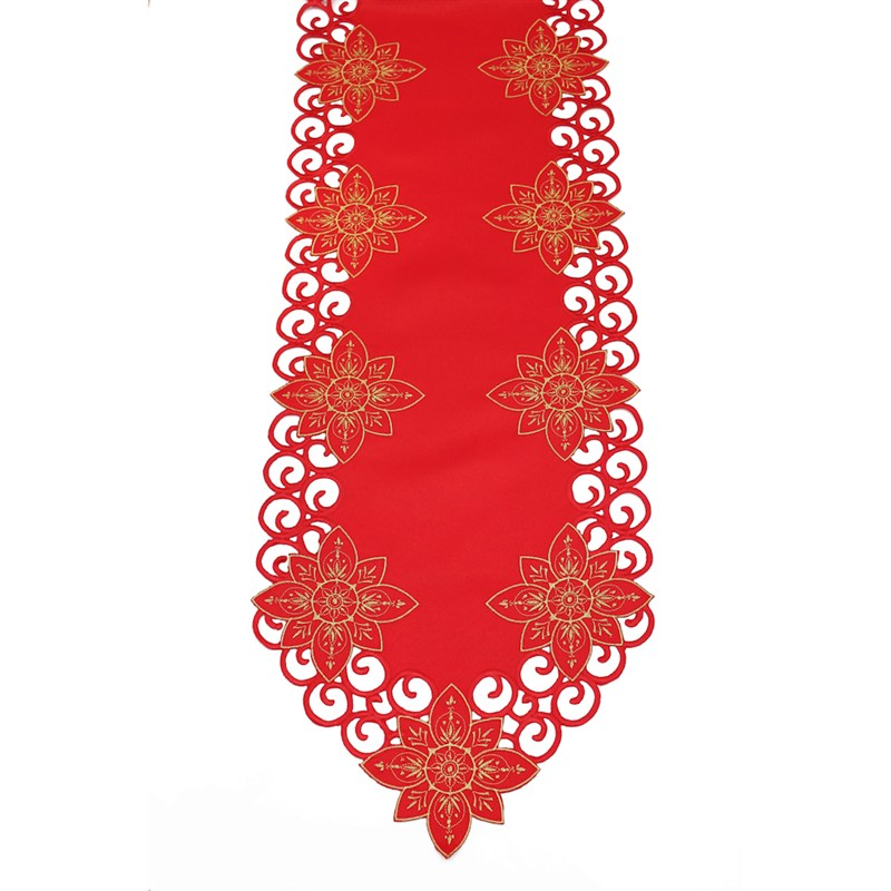 Peggy Wilkins Arietta Red Gold Christmas Table Runner 14 X 17in