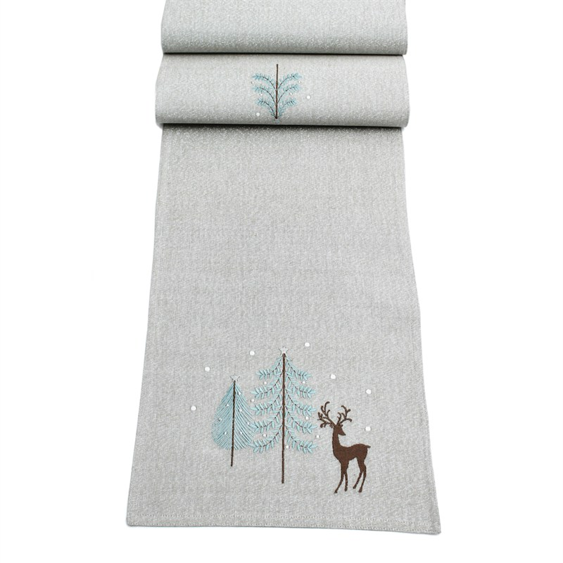 Peggy Wilkins Frosty Woodland Christmas Table Runner - 13 ...