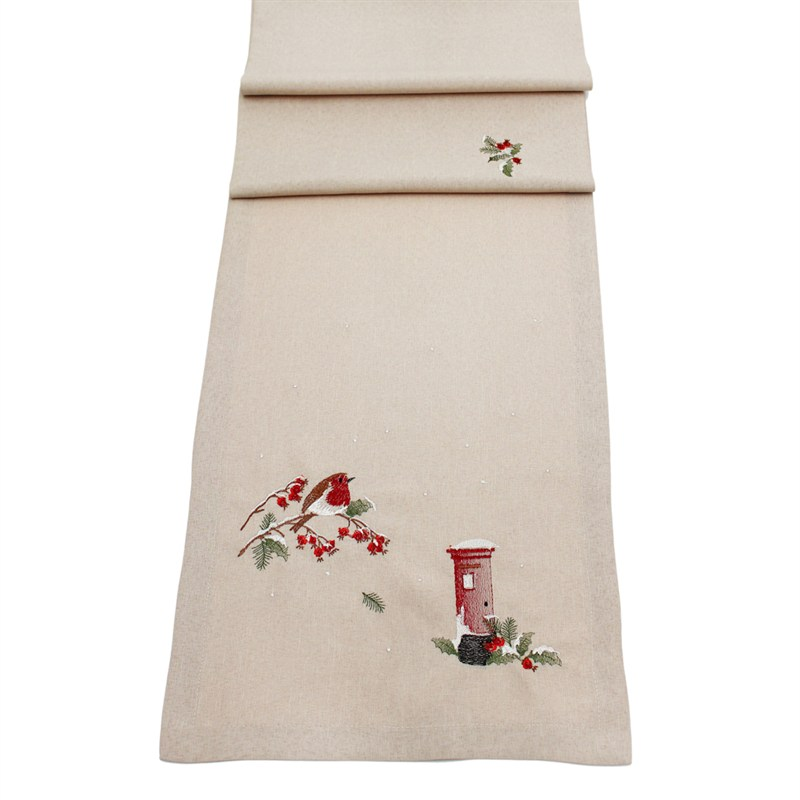 Christmas Table Runner Uk.Peggy Wilkins Robin Red Breast Christmas Table Runner 14 X 17in