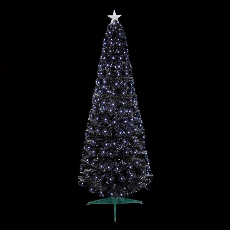 Slim Christmas Tree.Premier 1 2m Black Slim Christmas Tree With White Leds Fibre Optics Ft183124