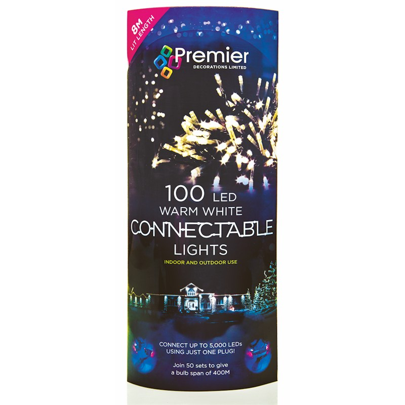 premier 100 led connectable lights warm white li096522ww