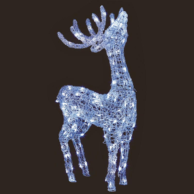 premier 1m acrylic standing reindeer with 120 white leds. Black Bedroom Furniture Sets. Home Design Ideas