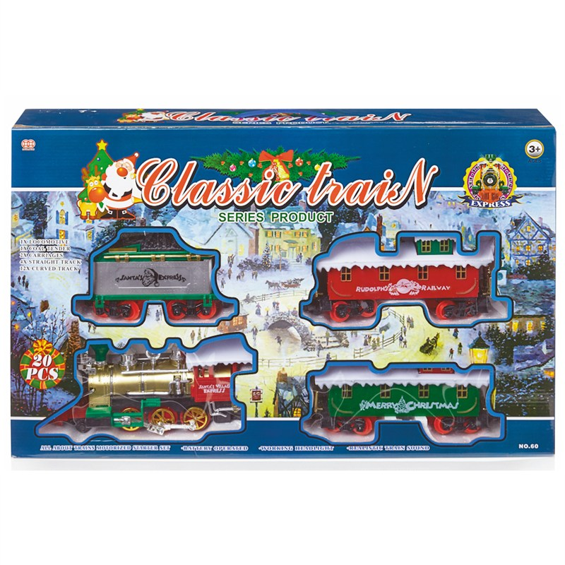 Christmas Train Set.Premier 20 Piece Battery Operated Christmas Train Set With Headlight Sound Ac121429