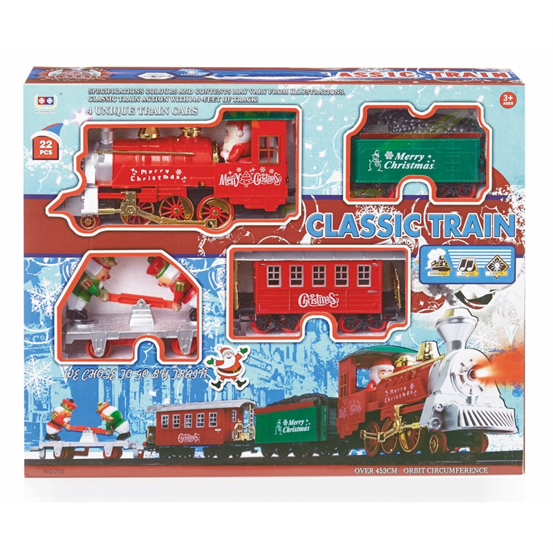 Christmas Train Set.Premier 22 Piece Battery Operated Christmas Train Set With Sound Light Ac171261