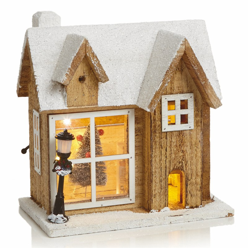 Christmas House.Premier 26cm Lit Wooden Christmas House Scene With 15 Copper Wire Lights Lb184780