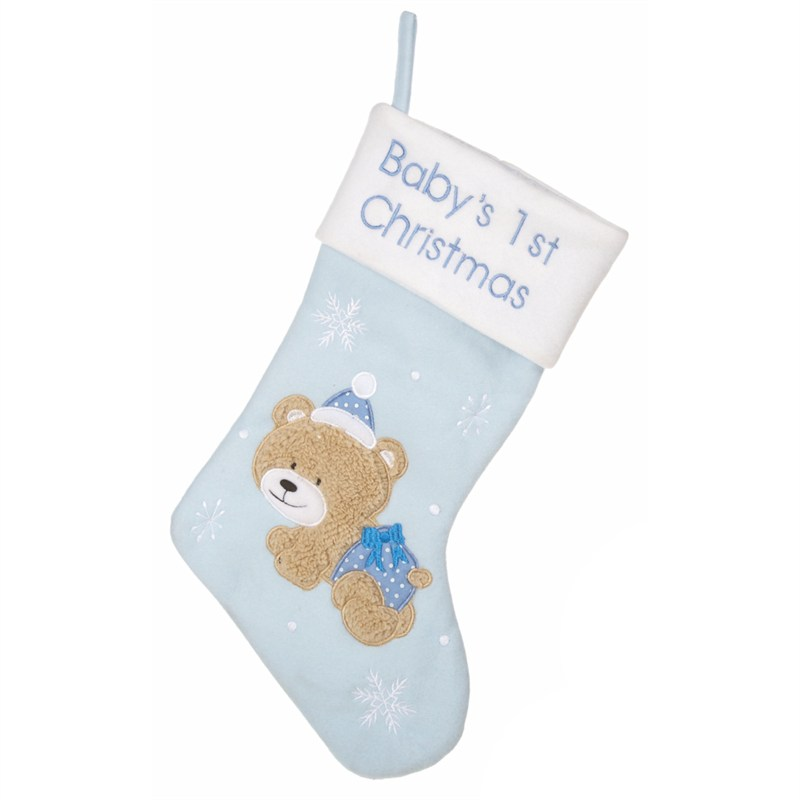 premier babys first christmas stocking blue 45cm pl162013