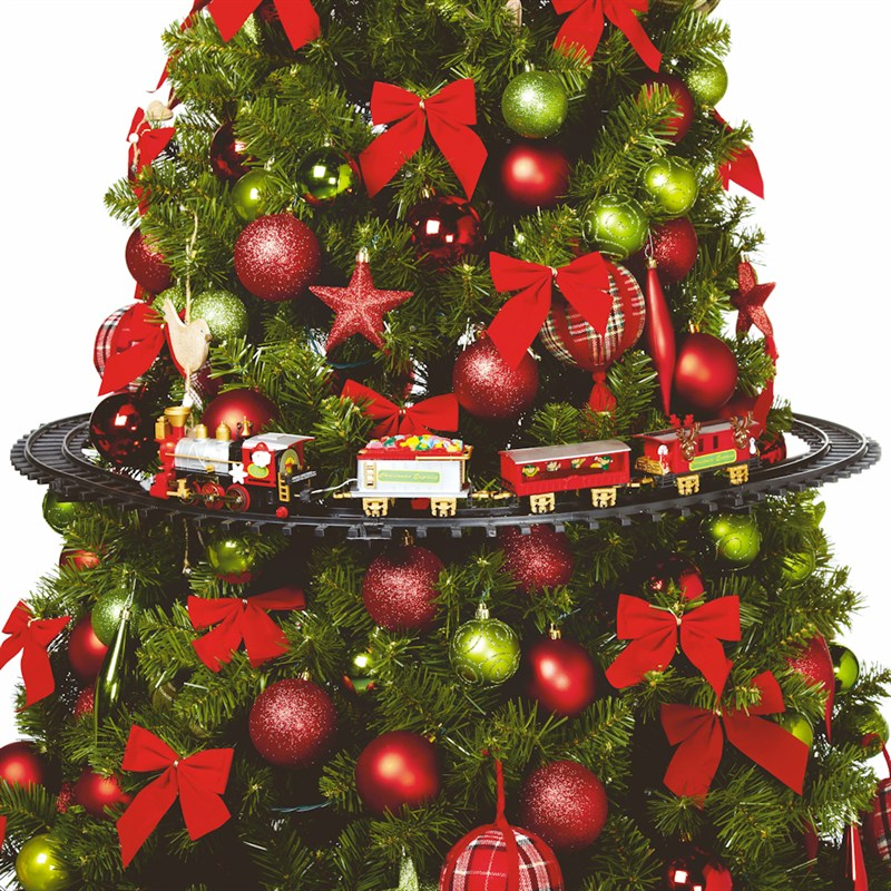 Christmas Tree Train.Premier Motorized Battery Operated Christmas Tree Train Ac158389