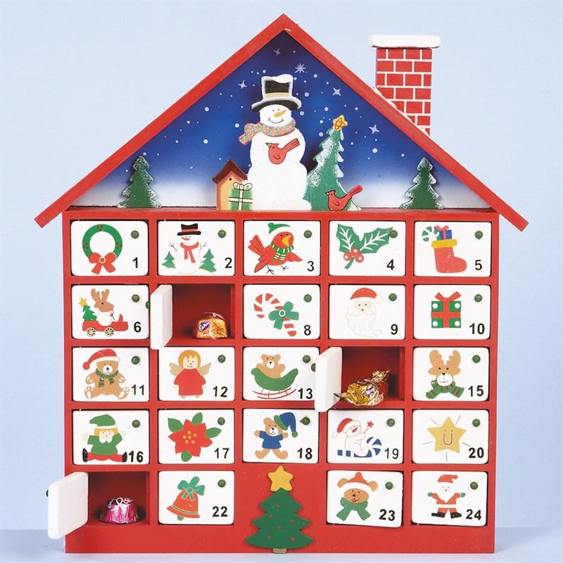 Christmas Advent Calendar.Premier Wood Christmas Advent Calendar House With 24 Doors 40cm Mo04676