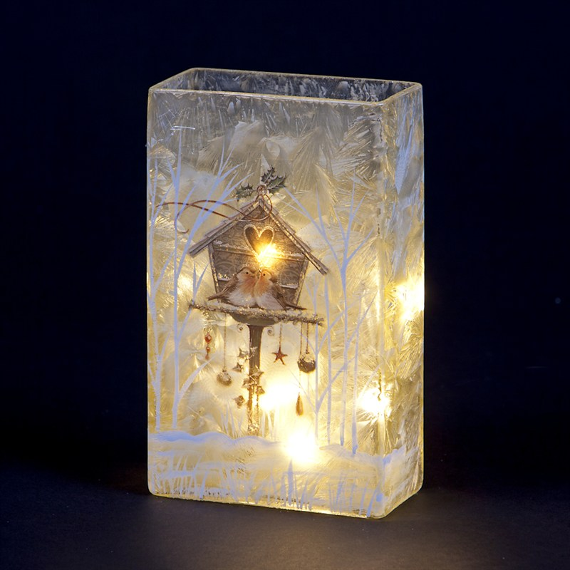 Snowtime Lit Glass Square Vase With Christmas Robins Birdhouse